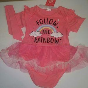 baby pink an white tutu onsie sz 3/6 months